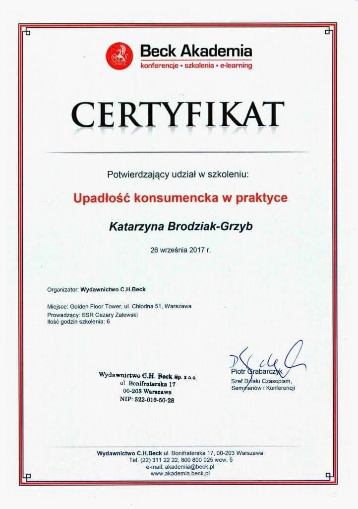 Certyfikat: UPADŁOŚĆ KONSUMENCKA W PRAKTYCE